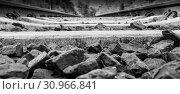 Купить «Concrete sleepers in black and white on the way.», фото № 30966841, снято 25 сентября 2012 г. (c) easy Fotostock / Фотобанк Лори
