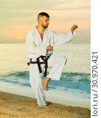 Купить «Cheerful male doing karate at ocean quay», фото № 30970421, снято 19 июля 2017 г. (c) Яков Филимонов / Фотобанк Лори