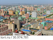 Купить «North Korea, Pyongyang. View of the city from above», фото № 30974781, снято 1 мая 2019 г. (c) Знаменский Олег / Фотобанк Лори
