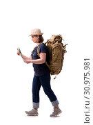 Купить «Aged female tourist isolated on white», фото № 30975981, снято 11 января 2019 г. (c) Elnur / Фотобанк Лори
