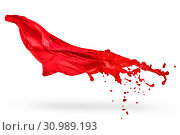 Купить «Red textile melted to liquid paint isolated on white background», фото № 30989193, снято 23 февраля 2020 г. (c) easy Fotostock / Фотобанк Лори