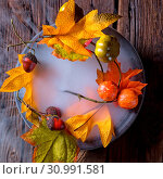 Купить «Autumn leaves in the mist», фото № 30991581, снято 18 июля 2019 г. (c) easy Fotostock / Фотобанк Лори