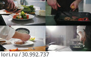 Купить «4 in 1: Chef preparing a varied meal - Steak Frying salad serving», видеоролик № 30992737, снято 21 июля 2019 г. (c) Константин Шишкин / Фотобанк Лори
