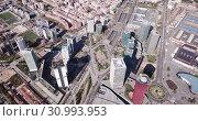 Panoramic aerial view of business district of Gran Via and Placa d Europa with modern skyscrapers (2019 год). Стоковое видео, видеограф Яков Филимонов / Фотобанк Лори