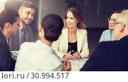 Купить «business team with scheme meeting at office», фото № 30994517, снято 3 июля 2016 г. (c) Syda Productions / Фотобанк Лори