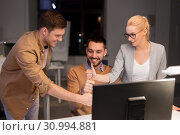 Купить «business team making thumbs up gesture at office», фото № 30994881, снято 26 ноября 2017 г. (c) Syda Productions / Фотобанк Лори
