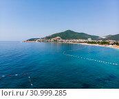 view of coastline of Budva city, Montenegro. Balkans, Adriatic sea, Europe (2019 год). Стоковое фото, фотограф Володина Ольга / Фотобанк Лори
