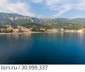 Купить «View of the villages of Rafailovici and Becici from the sea, Montenegro», фото № 30999337, снято 15 июня 2019 г. (c) Володина Ольга / Фотобанк Лори