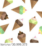 Ice cream origami seamless pattern. Set of colorful bright ice cream cones origami. Summer food isolated on white for use on wrapping paper, fabric, wallpaper, cookbooks, menus. Vector. Стоковая иллюстрация, иллюстратор Dmitry Domashenko / Фотобанк Лори