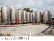 Купить «Workers near fermentation tanks for wine production outdoors in yard of the plant Kindzmarauli Corporation», фото № 30999481, снято 1 октября 2018 г. (c) Юлия Бабкина / Фотобанк Лори