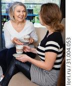 Купить «Two women talking at home», фото № 31004053, снято 2 марта 2019 г. (c) Яков Филимонов / Фотобанк Лори