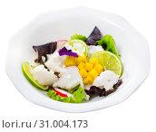 Купить «Hake ceviche with mango and lime», фото № 31004173, снято 17 июля 2019 г. (c) Яков Филимонов / Фотобанк Лори