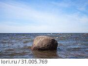 Купить «Massive stone in sea water, Baltic Sea», фото № 31005769, снято 1 июня 2019 г. (c) EugeneSergeev / Фотобанк Лори