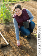 Купить «Woman farmer gardening on plantation», фото № 31005889, снято 21 февраля 2019 г. (c) Яков Филимонов / Фотобанк Лори