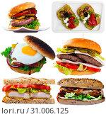 Купить «Cheeseburgers, sandwiches and fastfood dishes isolated on white background», фото № 31006125, снято 23 октября 2019 г. (c) Яков Филимонов / Фотобанк Лори
