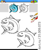 Cartoon Illustration of Drawing and Coloring Educational Activity for Children with Tuna Fish Animal Character. Стоковое фото, фотограф Zoonar.com/Igor Zakowski / easy Fotostock / Фотобанк Лори