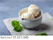 Купить «Artisanal ice cream balls with sesame seeds», фото № 31011045, снято 19 мая 2019 г. (c) Марина Сапрунова / Фотобанк Лори
