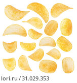 Купить «Potato chips close-up isolated on a white background», фото № 31029353, снято 2 июля 2014 г. (c) easy Fotostock / Фотобанк Лори