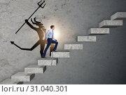 Купить «Businessman with alter ego climbing career ladder», фото № 31040301, снято 16 октября 2019 г. (c) Elnur / Фотобанк Лори