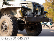 Camouflage military truck with rocket launcher. Outdoor military vehicles museum. Armor is damaged at the battlefield. (2018 год). Редакционное фото, фотограф YAY Micro / easy Fotostock / Фотобанк Лори