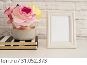 Купить «Frame Mockup. White Frame Mock up. Cream Picture Frame, Vase With Pink Roses on Stripe Notebooks. Product Frame Mockup. Wall Art Display Template, Brick Wall», фото № 31052373, снято 15 апреля 2017 г. (c) easy Fotostock / Фотобанк Лори