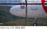 Купить «Airbus 320 taxiing before departure», видеоролик № 31084481, снято 30 ноября 2018 г. (c) Игорь Жоров / Фотобанк Лори