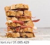 Купить «tiered sandwich made with with rye bread and ham», фото № 31085429, снято 30 января 2018 г. (c) Татьяна Яцевич / Фотобанк Лори