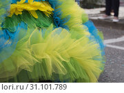 Close up of colorful dress of Carnival parade. Стоковое фото, фотограф ALL RIGHTS RESERVED / easy Fotostock / Фотобанк Лори