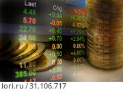 Купить «Double exposure stock financial in-dices with stack coin. Financial stock market in accounting market economy analysis.», фото № 31106717, снято 6 июня 2017 г. (c) easy Fotostock / Фотобанк Лори