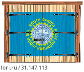 Купить «A large closed wooden barn double door with bolt and hinges and the South Dakota state flag painted on», фото № 31147113, снято 30 декабря 2018 г. (c) easy Fotostock / Фотобанк Лори