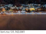 Fujikawaguchiko Town at night with Lake kawaguchi, Japan. Стоковое фото, фотограф Zoonar.com/Vichaya Kiatying-Angsulee / easy Fotostock / Фотобанк Лори