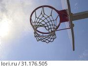 Купить «Basketball Hoop against a blue sky. Sunny day.», фото № 31176505, снято 7 мая 2016 г. (c) easy Fotostock / Фотобанк Лори