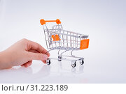 Hand holding a Cart on a white background. Стоковое фото, фотограф YAY Micro / easy Fotostock / Фотобанк Лори