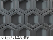 Купить «3d rendering, dark hexagonal background, sci-fi background, computer digital background», фото № 31235489, снято 18 сентября 2019 г. (c) easy Fotostock / Фотобанк Лори