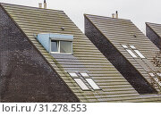 Rooftop of a modern dutch triangle shaped house, new designed architecture, dormer windows with roof tiling, homes in a small village of the Netherlands. Стоковое фото, фотограф YAY Micro / easy Fotostock / Фотобанк Лори