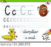 Cartoon Illustration of Writing Skills Practice with Letter C Worksheet for Preschool and Elementary Age Children. Стоковое фото, фотограф Zoonar.com/Igor Zakowski / easy Fotostock / Фотобанк Лори