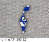 Купить «Map and flag of Israel on old linen», фото № 31283821, снято 23 октября 2014 г. (c) easy Fotostock / Фотобанк Лори