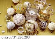 Купить «Wonderful Christmas composition: beautiful balls and candle», фото № 31286293, снято 17 октября 2007 г. (c) easy Fotostock / Фотобанк Лори