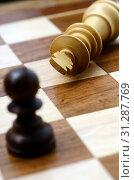 Купить «Chess pieces on chess board with king chekmate», фото № 31287769, снято 18 ноября 2016 г. (c) easy Fotostock / Фотобанк Лори