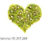 Купить «Pieces of fresh kiwi fruit in a heart shape, isolated on white background», фото № 31317269, снято 22 октября 2018 г. (c) easy Fotostock / Фотобанк Лори