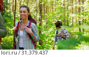 Купить «group of friends with backpacks hiking in forest», видеоролик № 31379437, снято 29 июня 2019 г. (c) Syda Productions / Фотобанк Лори