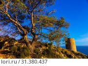 Cerro Gordo Watchtower, Costa Tropical, Granada Province, Andalusia, Spain. Стоковое фото, фотограф Blaine Harrington / age Fotostock / Фотобанк Лори