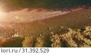 Купить «Low altitude flight over fresh fast mountain river with rocks at sunny summer morning.», видеоролик № 31392529, снято 4 апреля 2019 г. (c) Александр Маркин / Фотобанк Лори