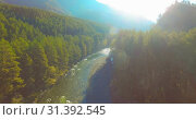 Купить «Low altitude flight over fresh fast mountain river with rocks at sunny summer morning.», видеоролик № 31392545, снято 6 апреля 2019 г. (c) Александр Маркин / Фотобанк Лори