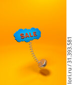 Лэйбл облако с надписью Sale. Стоковая иллюстрация, иллюстратор Роман Иванов / Фотобанк Лори