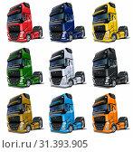 Купить «Cartoon semi trucks set isolated on white», иллюстрация № 31393905 (c) Александр Володин / Фотобанк Лори