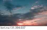 Купить «Cloudy sky at sunset, natural background», фото № 31394037, снято 16 июля 2014 г. (c) EugeneSergeev / Фотобанк Лори