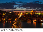 Top view of Prague castle, St. Vitus Cathedral, Vltava river and Charles bridge at night. Prague, Czech Republic (2014 год). Стоковое фото, фотограф Наталья Волкова / Фотобанк Лори
