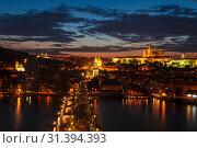 Купить «Top view of Prague castle, St. Vitus Cathedral, Vltava river and Charles bridge at night. Prague, Czech Republic», фото № 31394393, снято 7 сентября 2014 г. (c) Наталья Волкова / Фотобанк Лори