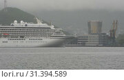 Купить «Japanese Passenger Cruise Liner Asuka II sailing on background sea port. Time lapse», видеоролик № 31394589, снято 8 июля 2019 г. (c) А. А. Пирагис / Фотобанк Лори
